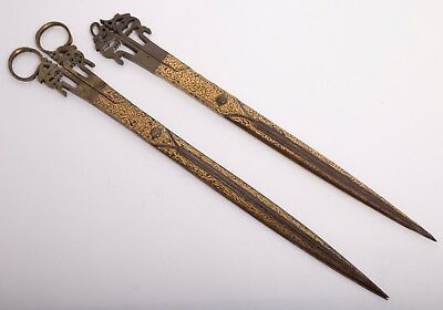 Lot of 2 19th century gold decorated Ottoman scissors.