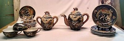 Vintage Dragonware Moriage Teapot, Set, HAND MADE, (17) PIECES, Excellent Cond,
