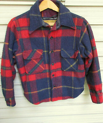 Vtg Fox Knapp Boys' Wool Plaid Jacket w/Anchor Buttons & Zip-Out Lining Size 14