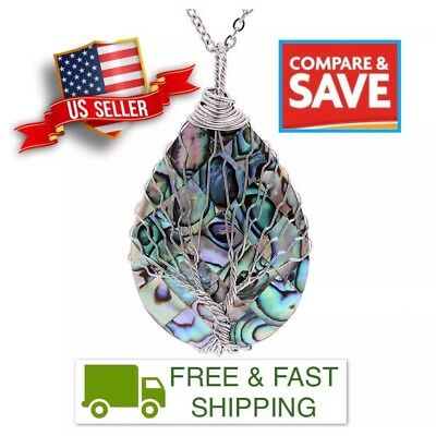 Tree of Life Pendant Amethyst Rose Crystal Gemstone Necklace with Chain | Chakra