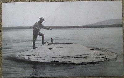 """1910 RPPC Photo Postcard """"Fishing"""" for Trout in Hot Springs, Yellowstone Park Wy"""