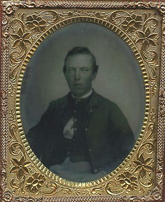 1860's 6th PLATE AMBROTYPE OF CIVIL WAR SOLDIER IN WINDOW UNION CASE