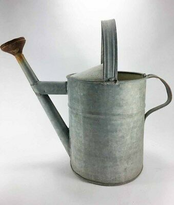 "Old Vintage Galvanized Metal Watering Sprinkling Can 17"" Tall Primitive Decor"