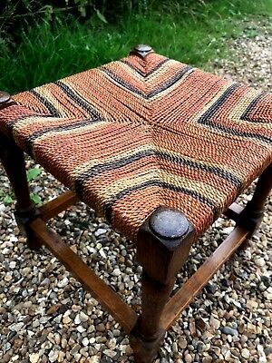 Vintage Rustic Oak + Twisted Rush Weaved Foot Stool Seat 40s 50s