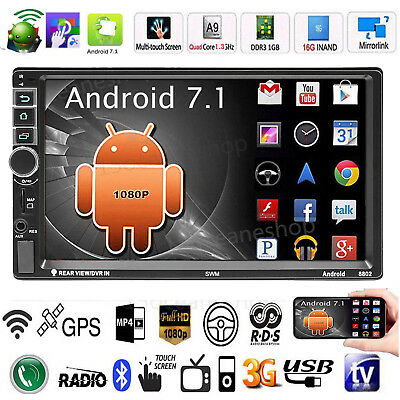 Android 7.1 4-core 7''2DIN Car Stereo MP5 Player GPS WiFi RDS FM AM Radio+Camera