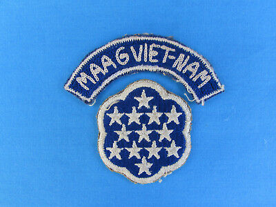 Original South Vietnamese Made Hand Sewn Maag Vietnam Arc / Tab Rvn Advisor Arvn