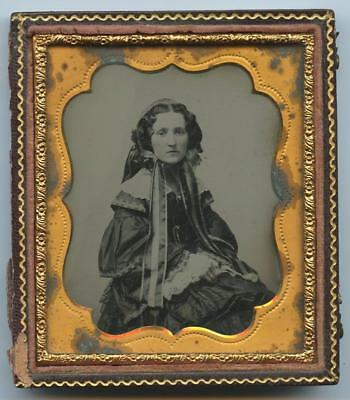 1850 1/2 CASE 6th PLATE AMBROTYPE - BEAUTIFUL YOUNG GIRL, ELABORATELY DRESSED