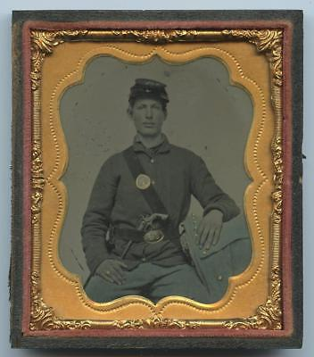 1860's 1/2 CASE TINTYPE - SEATED CIVIL WAR SOLDIER ARMED WITH A NAVY REVOLVER