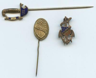 18-1900 3 Patriotic U.s. Stick Pins - Brass & Enamel Sword, Union Shield, Anchor