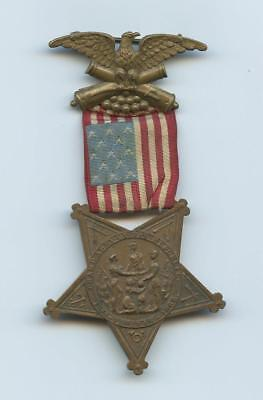"1800s CIVIL WAR VETERAN'S STAR & RIBBON MEDAL - STAR EDGE NUMBERED ""M2135"""