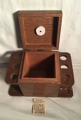 Vintage Mid Century Modern AZTEC wood box 6 pipe HUMIDOR + label 1950s 1960s