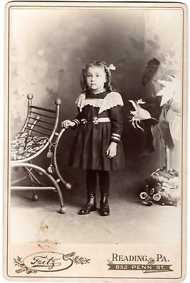 Cabinet Card Adorable Little Girl High Button Shoes - Photo By Fritz, Reading PA