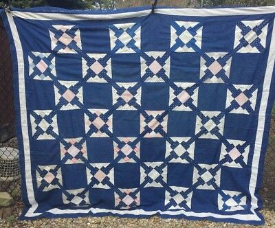 Antique Vintage Late 1800s Quilt Top ~ Indigo Blue The T Quilt Circle of T's