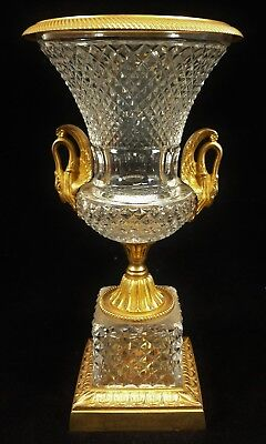 ANTIQUE 19th 20th C FRENCH Empire CRYSTAL & Dore BRONZE URN Double Handeled VASE