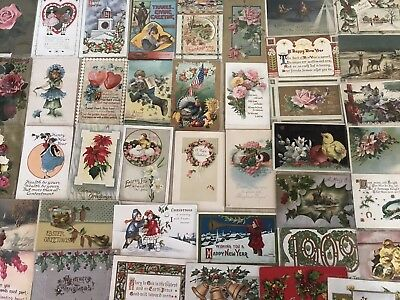 Vintage Mixed Lot of 55 Holidays & Greetings Postcards-Antique-~in Sleeves-k343