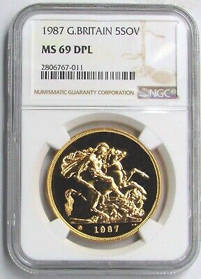1987 Gold Great Britain 5 Pounds Coin Ngc Mint State 69 Deep Proof Like