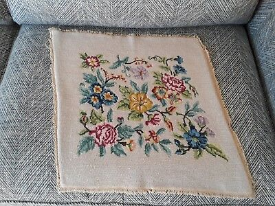 Vintage 1950s hand embroidered tapestry cushion cover panel embroidery flowers