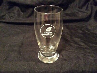 "Nice Virgin Atlantic Airways Airlines clear logo 4 1/8"" small glass shot glass C"
