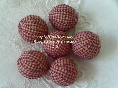 "Rag Balls DEEP BARN RED BURGUNDY CREAM 1.5"" Primitive 6 pcs Bowl Jar Fillers"