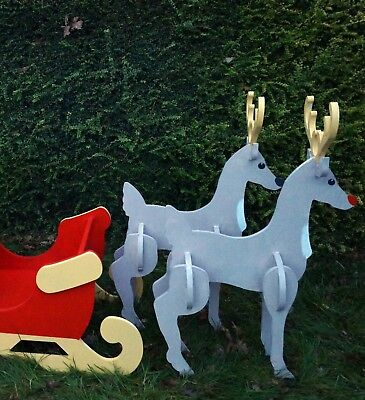Large Reindeer Trees XMAS MDF Unpainted Wooden Christmas Gifts Home Table Decor