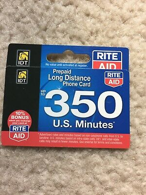 Prepaid Long Distance Phone Card 350 Minutes Within the U.S.