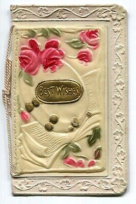 Victorian BEST WISHES Embossed Ivorine Celluloid Front Christmas Card Signed