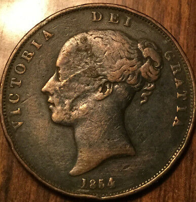 1854 UK GB GREAT BRITAIN VICTORIA ONE PENNY - Damaged