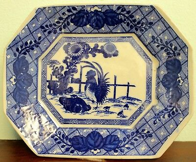 Antique Arita Japanese Porcelain Blue And White Rooster And Chickens Plate
