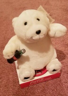 Coca Cola Brand Plush Collection Polar Bear Holding Coke Bottle 1997 Stuffed