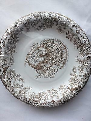 NEW Spode WOODLAND Brown & White Turkey Paper Dinner Plates 16 Count