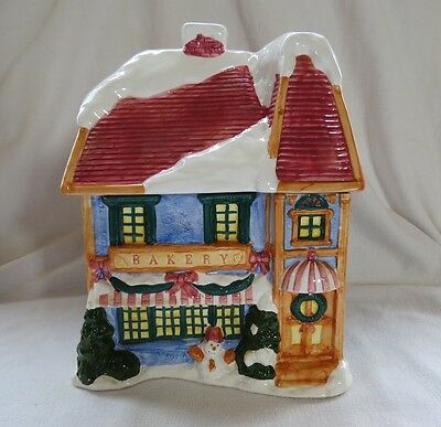 Cookie Jar Ceramic Holiday Bakery Hand Painted Cookie Jar