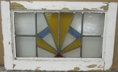 "OLD ENGLISH LEADED STAINED GLASS WINDOW Gorgeous Geometric Burst 22"" x 13.5"""