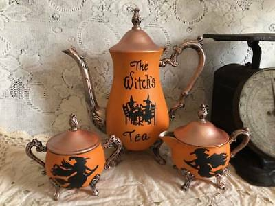 WITCH'S TEA ~ VINTAGE HALLOWEEN ~  Silver Plate Tea Set  OOAK, Handpainted WITCH