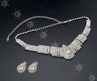 Bling Party Wedding Bridal Diamante Silver Crystal Necklace Earrings Set Jewelry