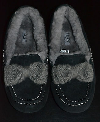 840e53e5e0c NEW SIZE 5 UGG Ansley Black Suede Gray Sheepskin Knit Bow Slippers Moccasins