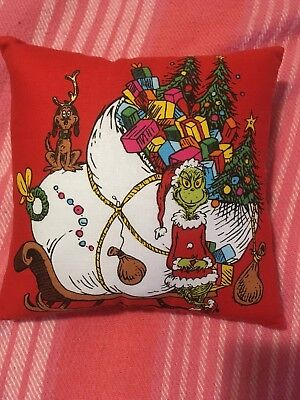 How the Grinch Stole Christmas Dr Seuss  Small Fabric Pillow NEW Handmade