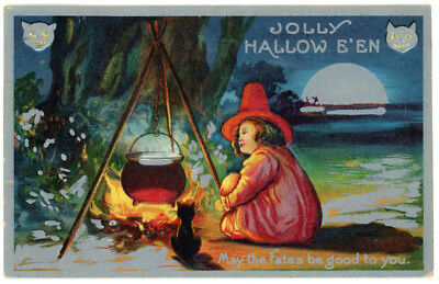 1909 Jolly Halloween Postcard Girl Witch Camp Fire Cauldron Silver Border #26