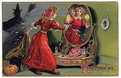 1908 Halloween Postcard Tuck Series #150 Woman Looking in Mirror Witch #3