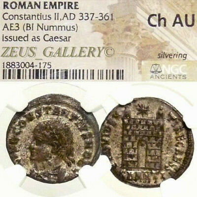 Constantius II VERY RARE R4 in RIC NGC Choice AU Silvering Ancient Roman Coin Æ3