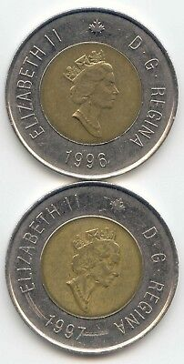 Canada 1996 & 1997 Toonies Canadian $2 Dollars Twoney Toony EXACT SET SHOWN