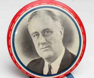 """c.1936 FDR ROOSEVELT 3 1/2"""" Pin Back Button"""