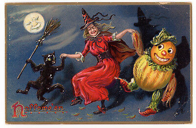 1908 Halloween Postcard Tuck Series #150 Candy Containers Dancing w/Cat Witch #2