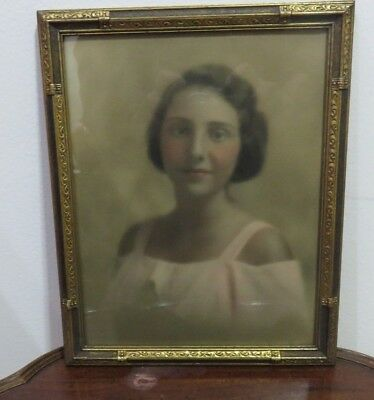 """Antique 8.5"""" X 10.5"""" Wood Picture Frame Hand Colored Photograph Of Young Lady"""