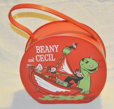 Vintage Beany & Cecil  Zippered Vinyl Lunch Case, 1961, Great shape, Used