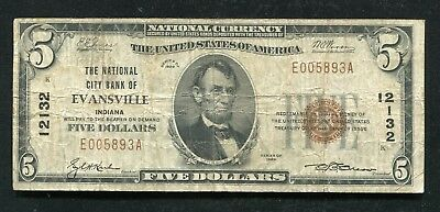 1929 $5 The National City Bank Of Evansville, In National Currency Ch. #12132