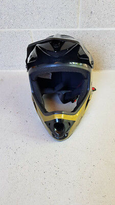 AS NEW USED ONCE 661 SIXSIXONE Black & Gold COMP Shifted Full Face BMX Helmet XL