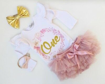 2PCS Baby Girl 1st Birthday Outfits Floral Romper Tutu Skirt Dress Party Costume