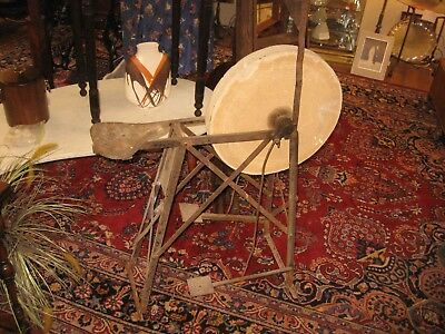 "Antique 18"" Stone Grinding Wheel Metal Stand & Pedals Sharpening Water Dispenser"