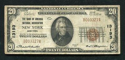 1929 $20 Bank Of America New York, Ny National Currency Ch. #13193