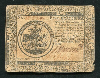 Cc-35 May 9 ,1776 $5 Five Dollars Continental Currency Note